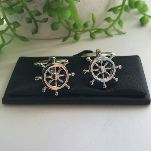 Men's Cufflinks - Ships Steering Wheel