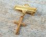 18kt Gold Plated or Sterling Silver Cross Baby Christening Pin