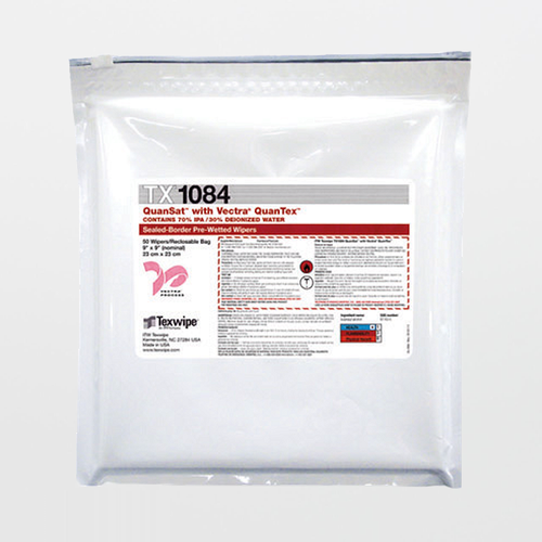 """Texwipe TX1084 Vectra QuanSat 9"""" x 9"""" Polyester Cleanroom Wiper Pre-Wetted 70% IPA"""