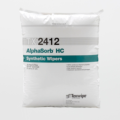 "Texwipe TX2412 AlphaSorb HC 12"" x 12"" Polyester Cleanroom Wiper"