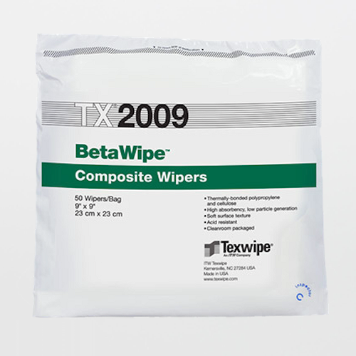 "Texwipe TX2009 BetaWipe 9"" x 9"" Polypropylene and Cellulose Cleanroom Wiper"