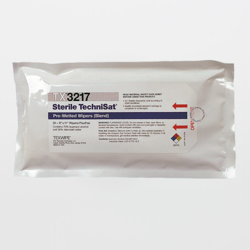 "Texwipe TX3217 Sterile TechniSat 9"" x 11"" Polyester and Cellulose Wiper Pre-Wetted 70% IPA"