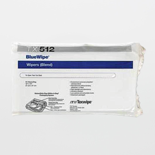 """Texwipe TX512 BlueWipe 12"""" x 12"""" Cellulose and Polyester Cleanroom Wiper"""