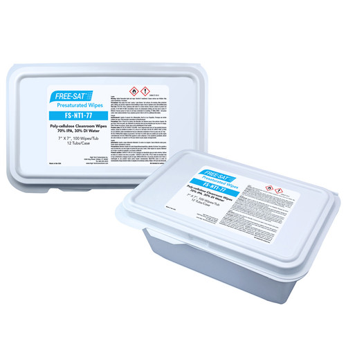 FREE-SAT 7″ x 7″ Poly-cellulose Presaturated Wipers, 70% IPA / 30% DI Water