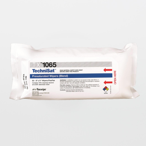 "TX1065 TechniSat 9"" x 11"" Cellulose/Polyester Cleanroom Wiper Pre-Wetted 70% IPA"
