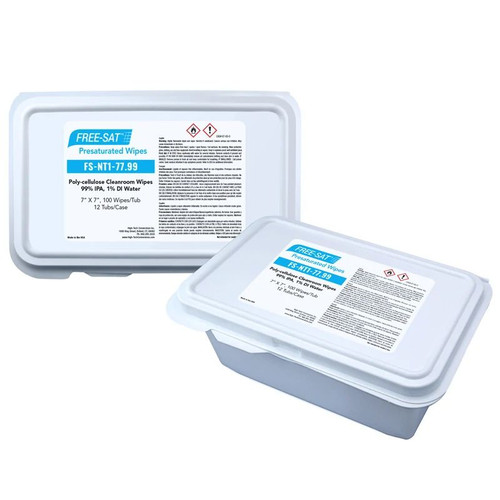 FREE-SAT 7″ x 7″ Poly-cellulose Presaturated Wipers, 99% IPA / 1% DI Water