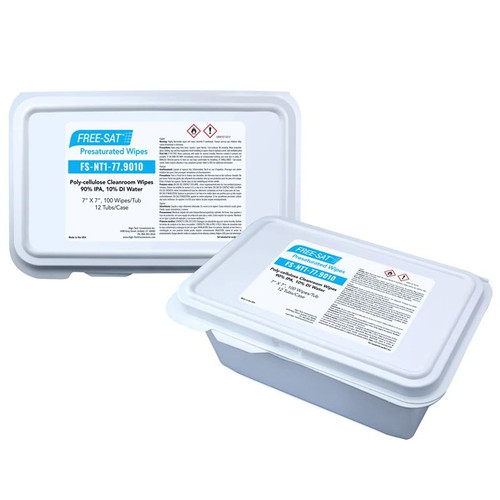 FREE-SAT 7″ x 7″ Poly-cellulose Presaturated Wipers, 90% IPA / 10% DI Water