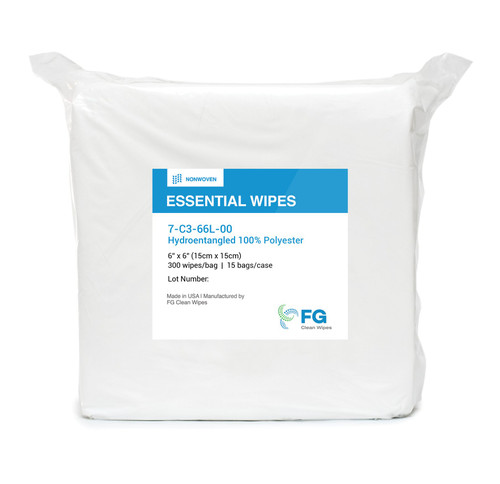 "FG Clean Wipes 4"" x 4"" Hydroentangled 100% Polyester Cleanroom Wiper"