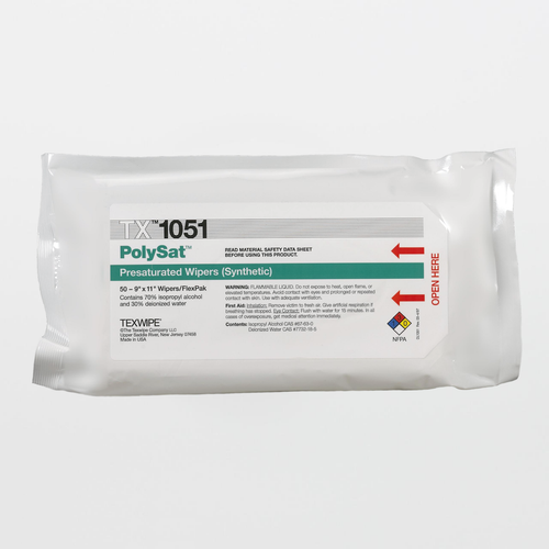 "TX1051 PolySat 9"" x 11"" Polypropylene Cleanroom Wiper Pre-Wetted 70% IPA"