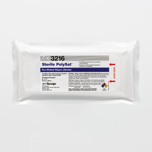 "TX3216 Sterile PolySat 9"" x 11"" Polypropylene Cleanroom Wiper Pre-Wetted 70% IPA"