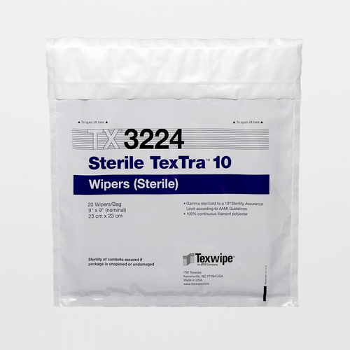 "TX3224 Sterile TexTra10 9"" x 9"" Polyester Cleanroom Wiper"