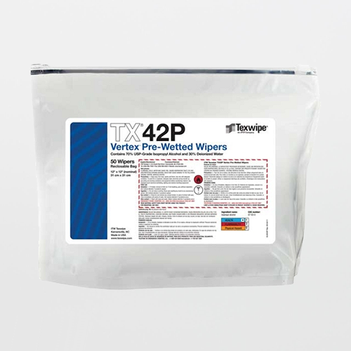 "TX42P Vertex 12"" x 12"" Polyester Laser Edge Cleanroom Wiper Pre-Wetted 70% IPA"