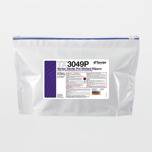 "TX3049P Sterile Vertex 9"" x 9"" Polyester Sealed Edge Wiper Pre-Wetted 70% IPA"