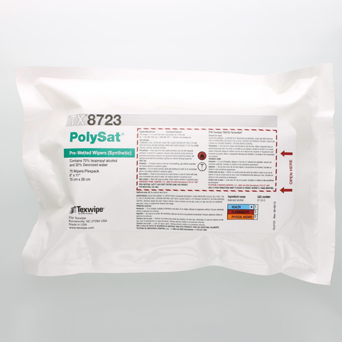 "TX8723 PolySat 6"" x 11"" Polypropylene Wiper Pre-Wetted 70% IPA for Small Spaces"