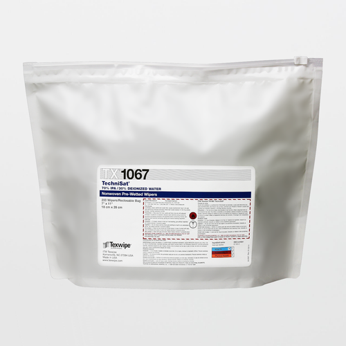 "TX1067 TechniSat 7"" x 11"" Cellulose/Polyester Cleanroom Wiper Pre-Wetted 70% IPA"
