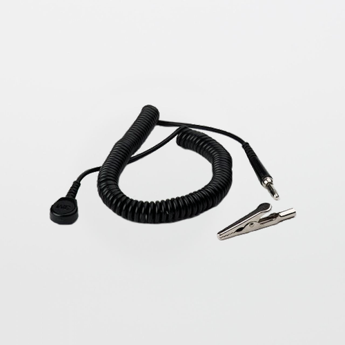 Replacement 10' Coil Cord with Alligator Clip for ESD Wrist Strap