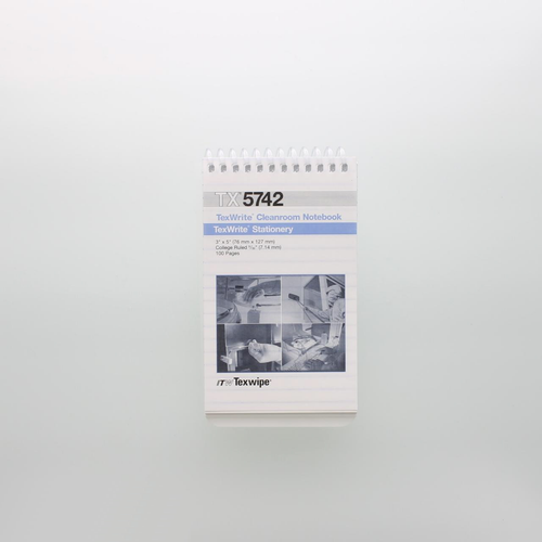 """Texwipe TX5742 TexWrite 3"""" x 5"""" White Cleanroom Spiral Notebook"""