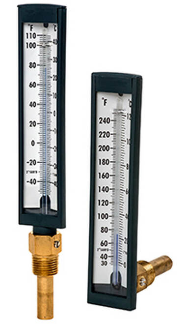 "T571 Glasss Tube Thermometer ,30-240°F/C,  1/2""NPT (173525)"