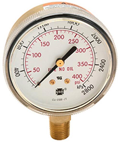 600 Compressed Gas/Welding Pressure Gauge, 0 - 100 PSI (164257A)
