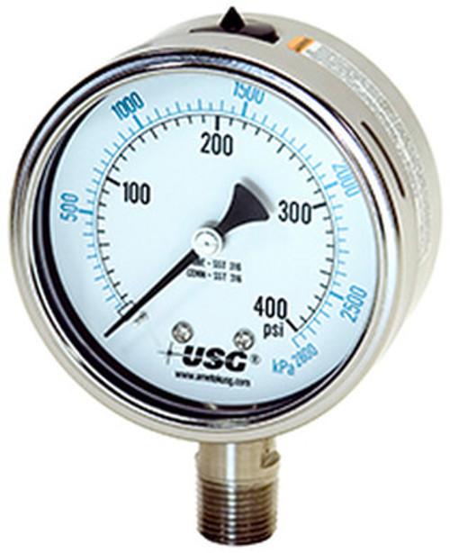 1550 Liquid Fillable Pressure Gauge, 30-0-60 PSI (254003A)