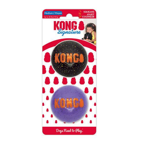 KONG Signature Ball Halloween Dog Toy - 2 Pack Assorted Colors