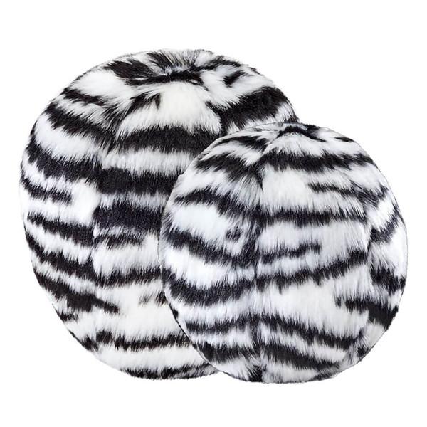 Fluff and Tuff Zebra Ball Squeakerless Dog Toy