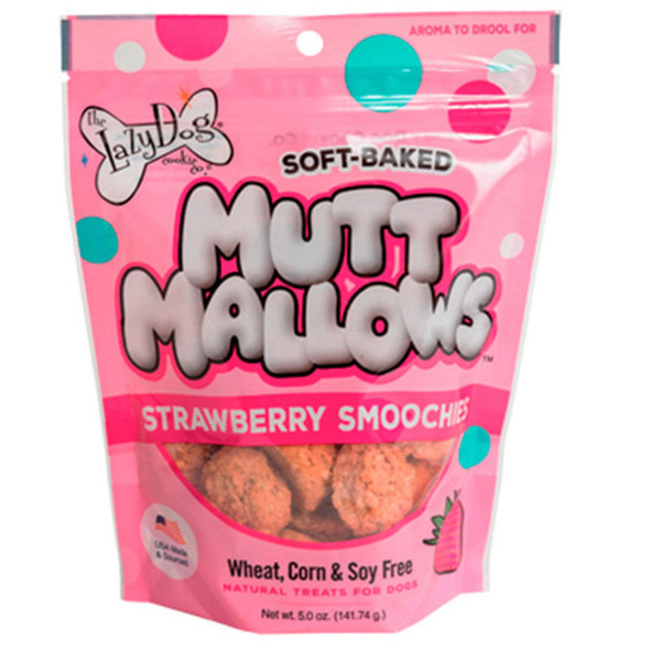 The Lazy Dog Cookie Co. Mutt Mallows Strawberry Smoochies Dog Treats - 5oz