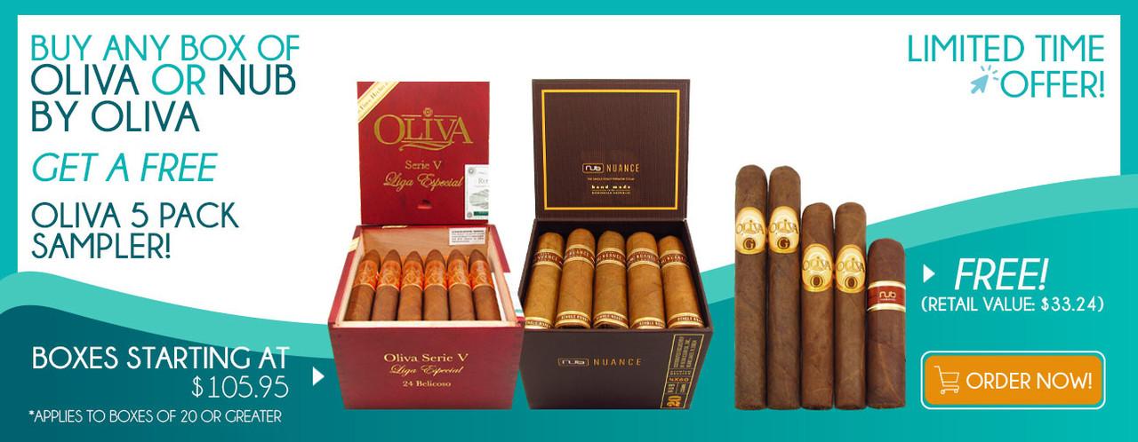 Buy ane Box of Oliva or NUB By Oliva get a FREE Oliva 5 Pack Sampler!