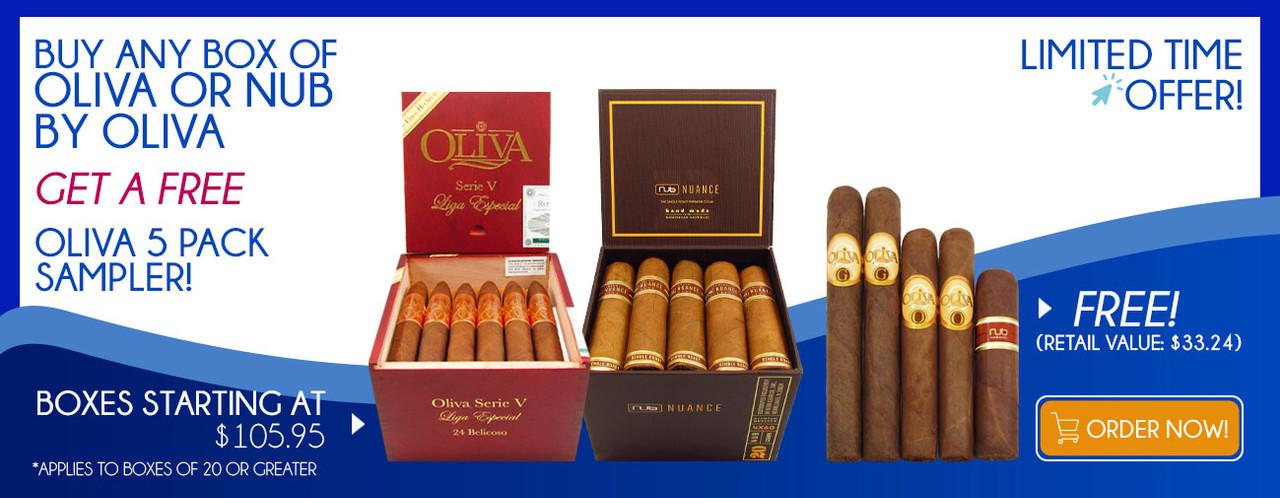 Buy any Box of Oliva or NUB by Oliva get a FREE Oliva 5 Pack Sampler!