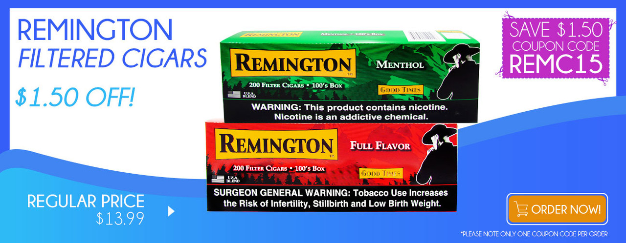 Remington Filtered Cigars $1.50 OFF!