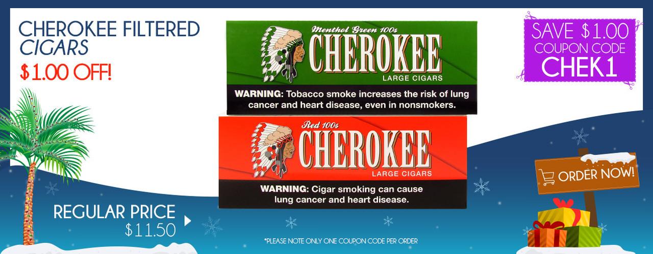 Cherokee Filtered Cigars $1.00 0FF!