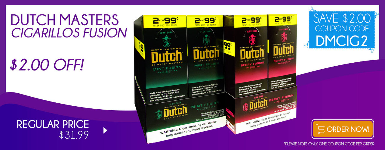 Dutch Masters Cigarillos Fusion $2.00 OFF!