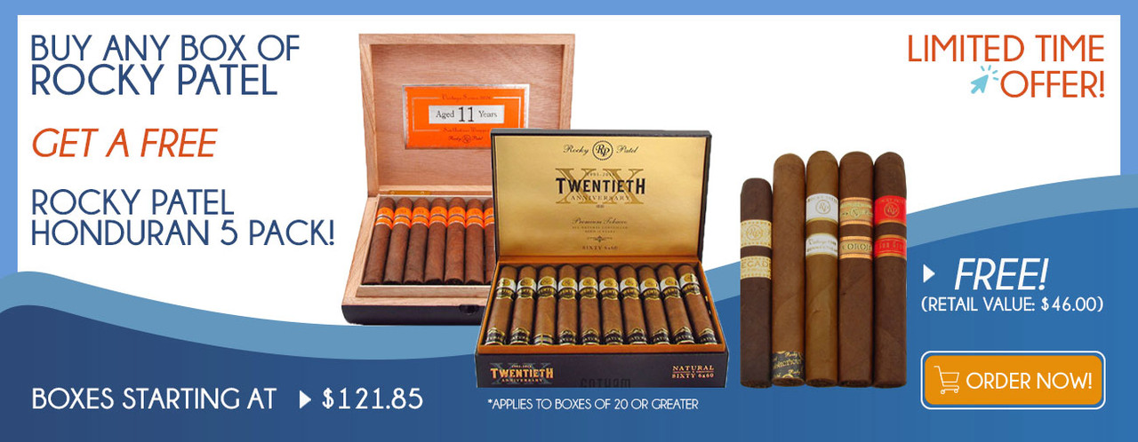 Buy any box of Rocky Patel get a FREE Rocky Patel Honduran 5 Pack!