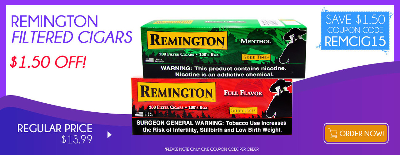 Remington Filtered Cigars $1.50 OFF!