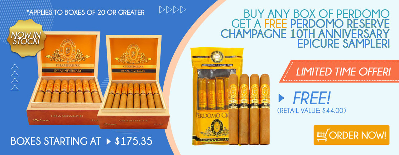 Buy any box of Perdomo get a FREE Perdomo Reserve Champagne 10th anniversary Epicure Sampler!