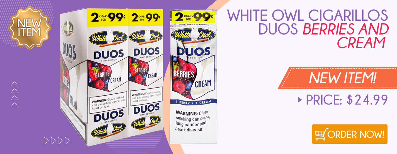 NEW ITEM! White Owl Cigarillos Duos Berries and Cream!