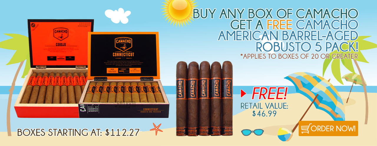 Buy any box of Camacho get a FREE Camacho American Barrel-Aged Robusto 5 Pack!