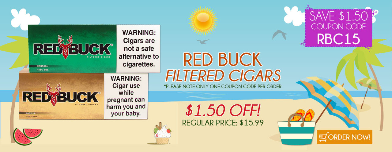 Red Buck Filtered Cigars $1.50 OFF!