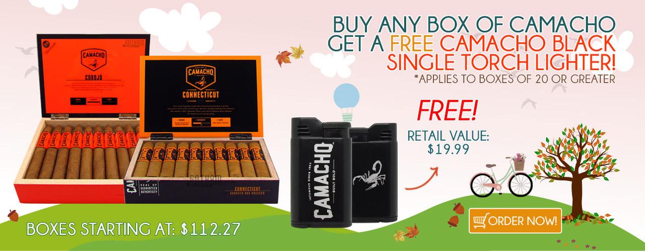 Buy any box of Camacho get a FREE Camacho Black Single Torch Lighter!