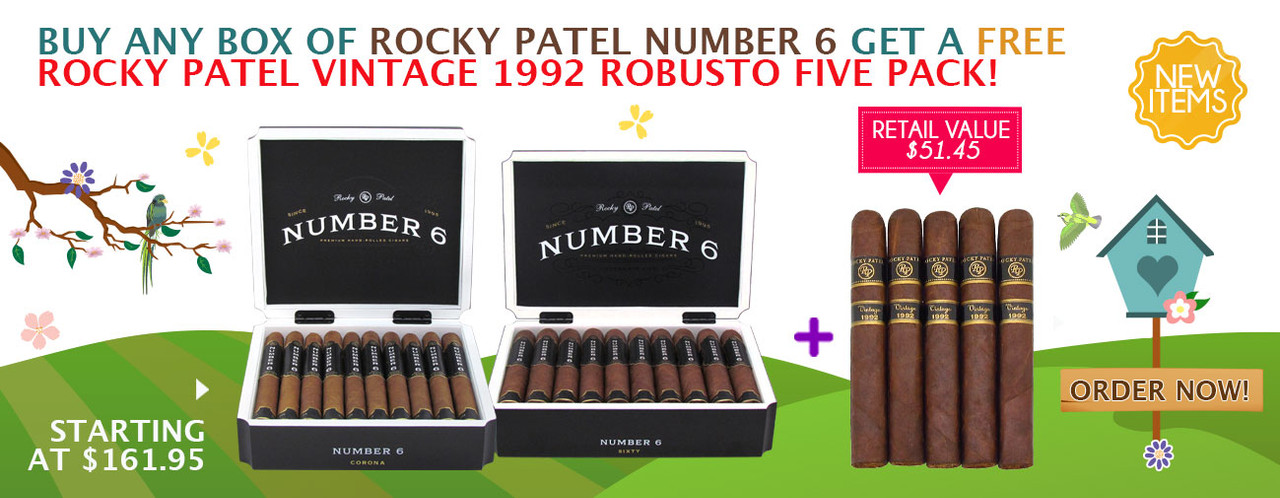 Buy any box of Rocky Patel Number 6 get a FREE Rocky Patel vintage 1992 Robusto Five Pack!