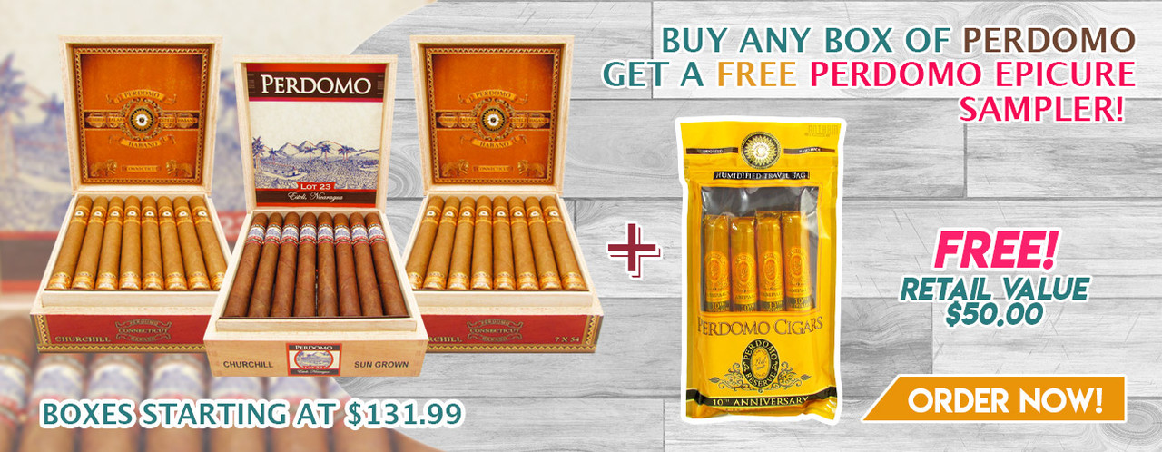 Buy any box of Perdomo get a FREE Perdomo Epicure Sampler!