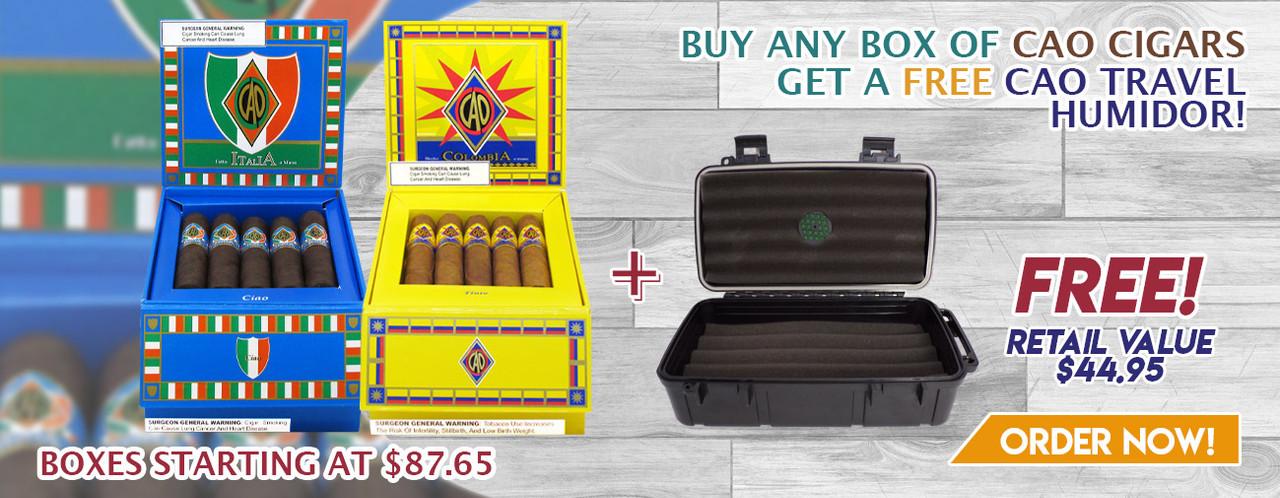Buy any box of CAO Cigars get a FREE CAO Travel Humidor!