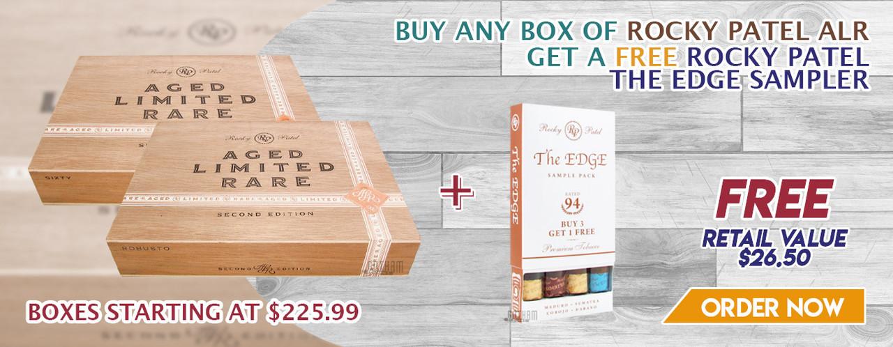 Buy any box of Rocky Patel ALR get a FREE Rocky Patel The Edge Sampler