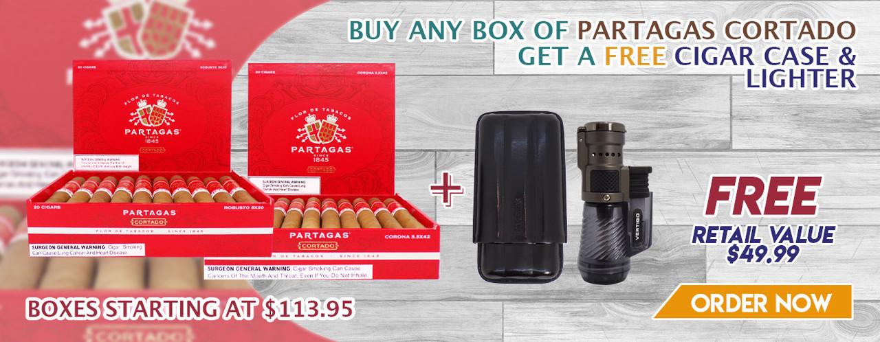 Buy any box of Partagas Cortado get a FREE Cigar Case and Lighter