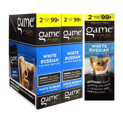 Game Cigarillos White Russian Box and Foil Pack