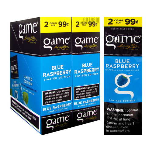 Game Cigarillos Blue Raspberry Box and Foil Pack