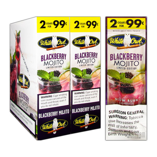 White Owl Cigarillos Blackberry Mojito Box and Foil Pack