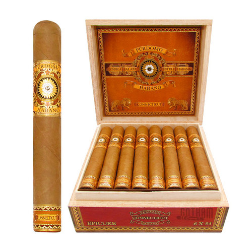 Perdomo Habano Bourbon Barrel-Aged Connecticut Epicure Open Box and Stick