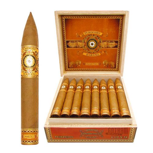 Perdomo Habano Bourbon Barrel-Aged Connecticut Torpedo Open Box and Stick