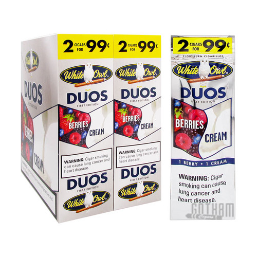 White Owl Cigarillos Duos Berries and Cream Box and FoilPack